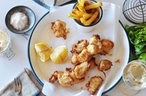 Fish and chips with verjuice mayonnaise