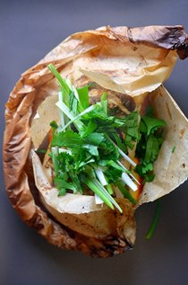Fish en papillote (in parchment) with citrus,ginger, & shiitake
