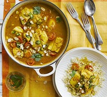 Fish tagine with saffron & almonds
