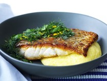 Fish with polenta and dill gremolata