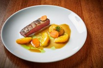 Five-spice smoked duck with carrots and orange