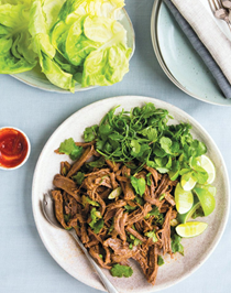 Flank steak lettuce cups with lime-hoisin dressing
