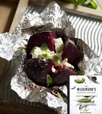 Foil-roasted big beets with ricotta & mint