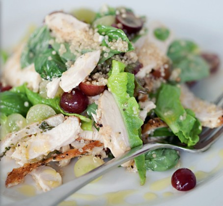 Free-range chicken salad with quinoa, grapes, basil and verjuice