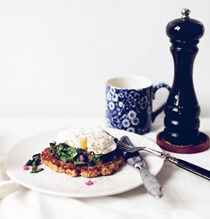 Freekeh pancakes with wilted Swiss chard and poached eggs