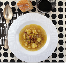 French potato and leek soup for two