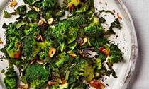 Fried broccoli and kale with garlic, cumin and lime