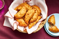 Fried coconut turnovers (Guyanese gojas)