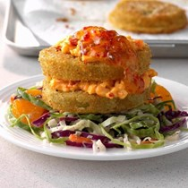 Fried green tomato Napoleons with mandarin coleslaw