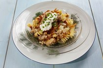 Fusilli with Polish sausage, potatoes and caramelized onions
