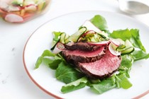 Garlic & ginger eye fillet with quick cucumber & radish pickle