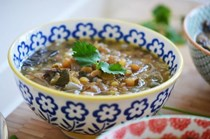 Garlicky Lebanese lentil soup with Swiss chard and lemon