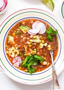 Gazpacho with avocado and corn