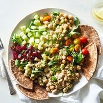 Gena Hamshaw's deli bowls with smashed chickpea salad