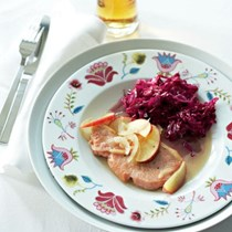 German kassler chops with red cabbage