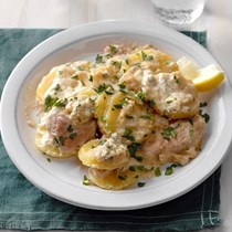 German schnitzel & potatoes with Gorgonzola cream