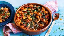Gigantes with tomatoes & greens