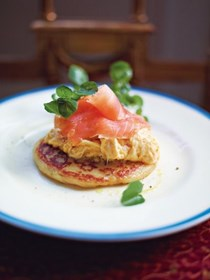 Glasgow potato scones with scrambled egg and smoked salmon