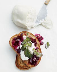 Glazed-beet-and-burrata toasts