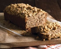 Gluten-free banana bread with hazelnut streusel