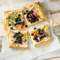 Goat cheese tart with blueberry-sweet corn salsa