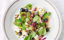 Goat's curd, blueberries and watercress