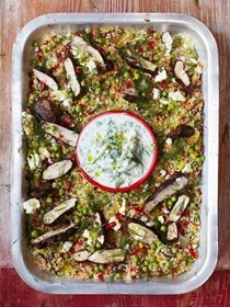 Gorgeous Greek chicken, herby vegetable couscous & tzatziki
