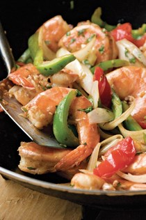 Grace Young's Chinese Trinidadian stir-fried shrimp with rum