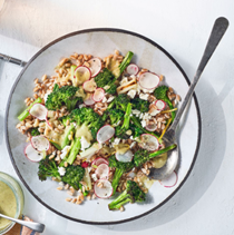 Grain salad with charred broccoli, spring onions & parsley-sumac vinaigrette