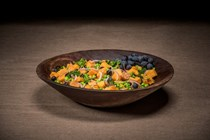 Grape, butternut squash and green pea salad