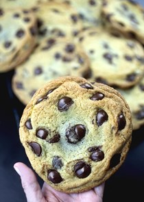 Great big dark chocolate chip truffle cookies