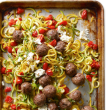 "Greek meatballs with squash ""noodles"" and tomatoes"