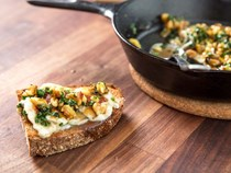 Greek pan-fried cheese (saganaki) with walnut vinaigrette