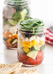 Greek salad in jars