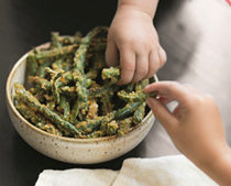 Green bean 'fries' with yogurt dill dip
