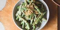 Green bean salad with creamy sunflower seeds  [Gabe Rosen, BIwa Izakaya Noraneko]