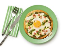 Green eggs and ham pizza