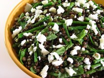Green lentils, asparagus and watercress