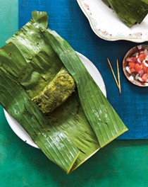 Green masala fish in banana leaves
