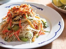 Green papaya salad with rau ram, peanuts, and crispy shallots