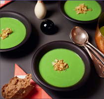 Green pea and ham hock soup with crackling crumbs