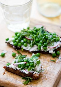 Green pea and radish tartines