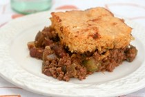 Green tomato chili pie topped with chipotle cotija cornbread
