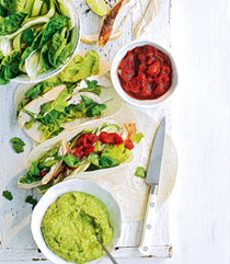 Green veg and chicken tacos with pea guacamole