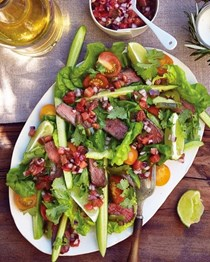 Grilled Asian beef salad with tomato and chili vinaigrette