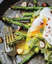 Grilled asparagus with cucumber salad & egg