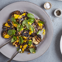 Grilled aubergine with saffron mayo