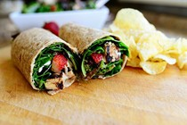 Grilled chicken and strawberry salad wrap
