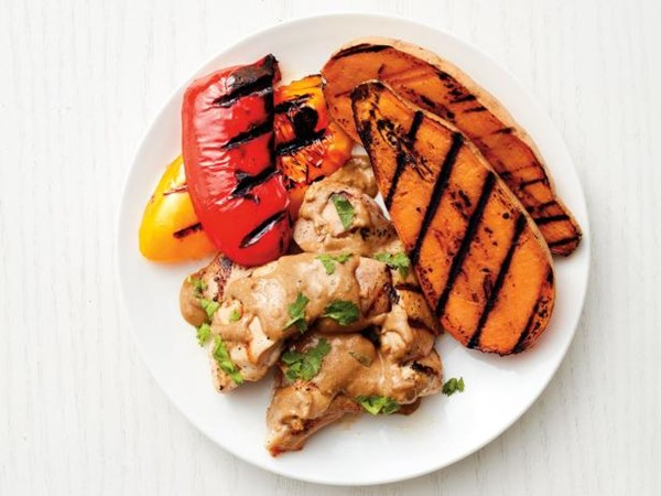 Grilled Chicken And Vegetables With Sunflower Seed Sauce Recipe