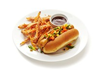 Grilled chicken dogs with sweet potato fries